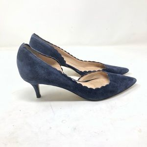 J. Crew navy suede Dulci scalloped kitten heel 8